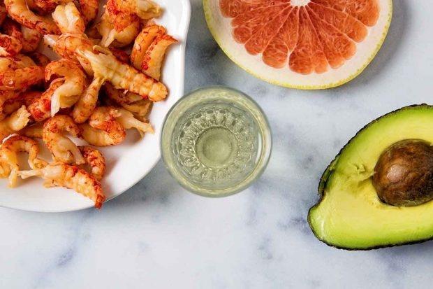 Zutaten für Krebs-Avocado-Salat mit Verjus