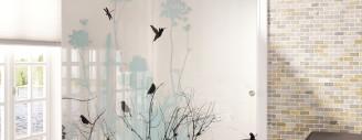 Beschwingtes Ambiente durch Naturdruck auf Trennwand (Bild epr)