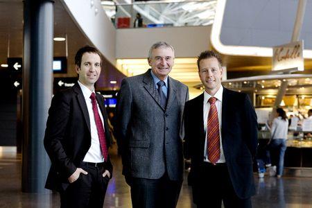 Jürgen Weder (CEO), Andrea Baroni (Leiter Flughafenbetrieb, Flughafen Zürich), René Schumacher (COO).