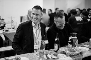 Die IFJ-Delegation Simon May und André Bühlmann ist sichtlich zufrieden. Wieder einmal haben sie Schweizer Top-Startups ins Ausland gebracht. Bild: Mirjam Sonner.