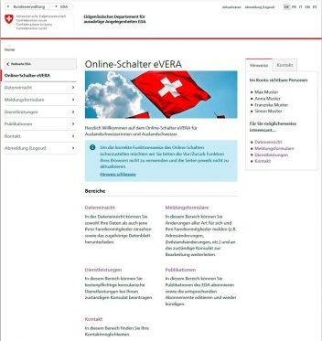 Uebersicht Online-Schalter